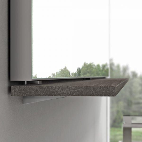 Wandbord-Spiegel mit Befestigung ohne Wandbohrungen