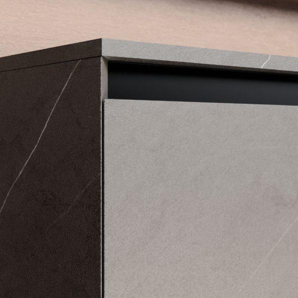 Tür- und Schubladenfronten mit 45-Grad-Kanten auf allen Seiten