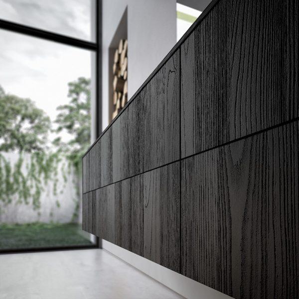 Holz mit sandgestrahlter, strukturierter Oberfläche