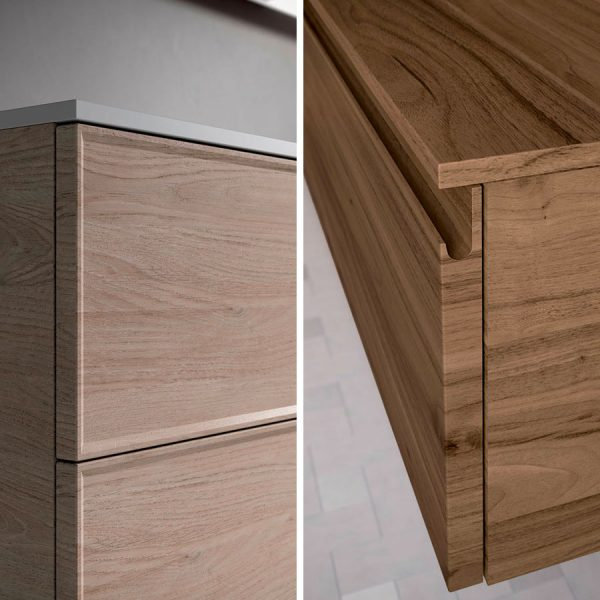 """Tür in zwei Ausführungen erhältlich: mit """"Rahmen"""" (Form T) oder mit Griffleiste (Form J)"""
