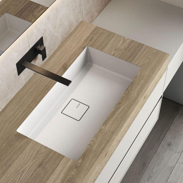 Platte aus HP mit integriertem Waschbecken aus Mineralsolid